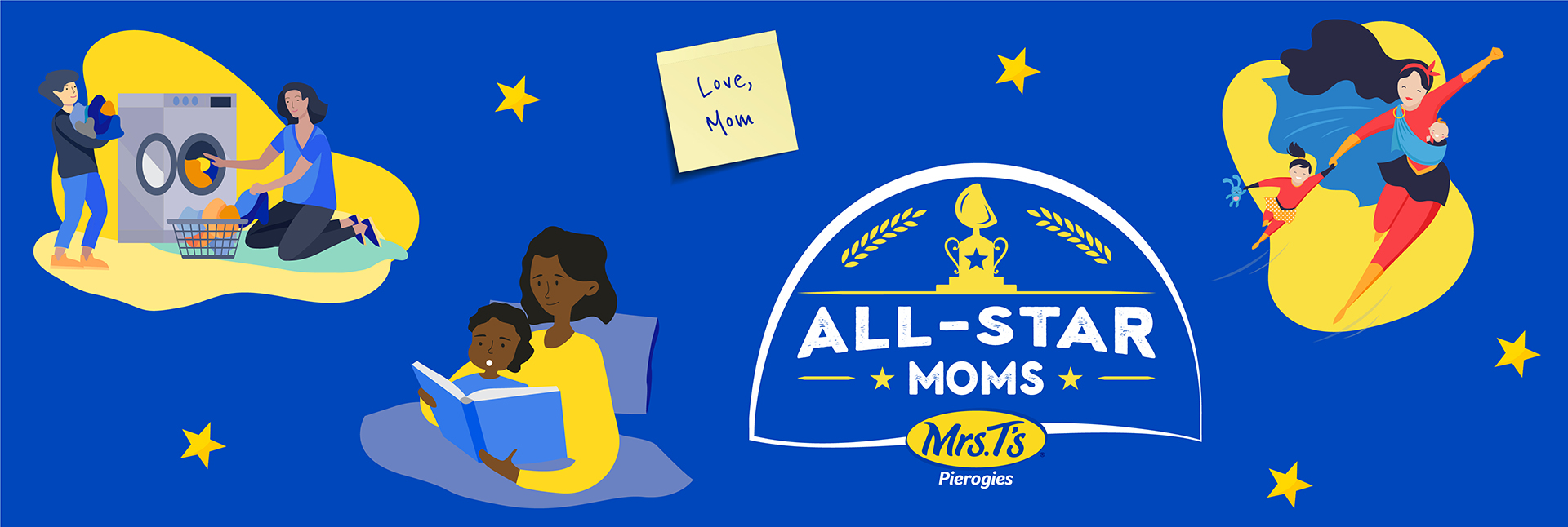 Mrs. T's Pierogies All-Star Moms banner